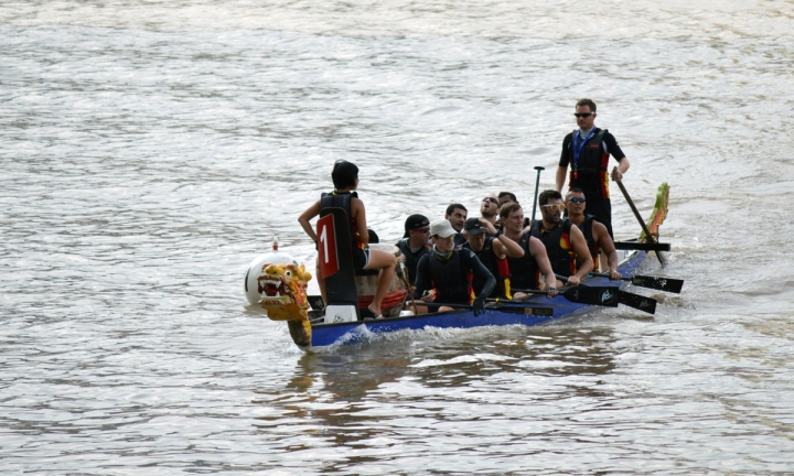 One of the expat dragon boat teams returning to dock.