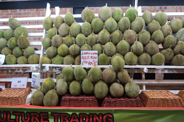 Durian vendor near Tune Hotel.