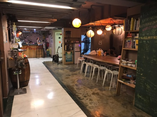Common area at Ximen WOW Hostel.